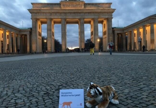 Plüschtiger vor dem Brandenburger Tor in Berlin