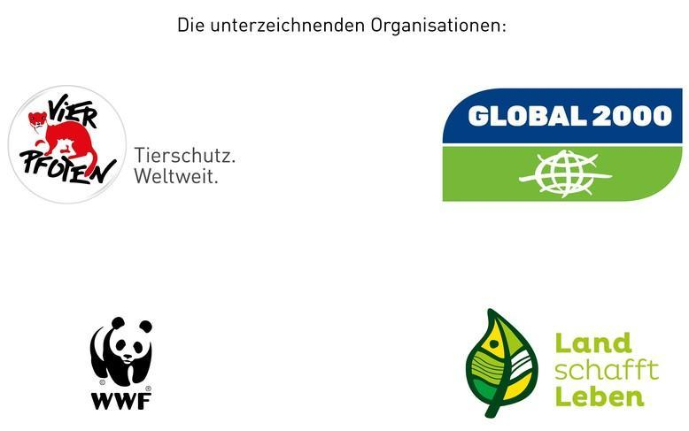 Logos VIER PFOTEN, Global 2000, WWF, Land schafft Leben