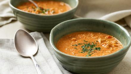 Red lentil soup with quinoa
