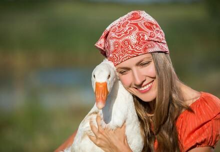 Woman and goose
