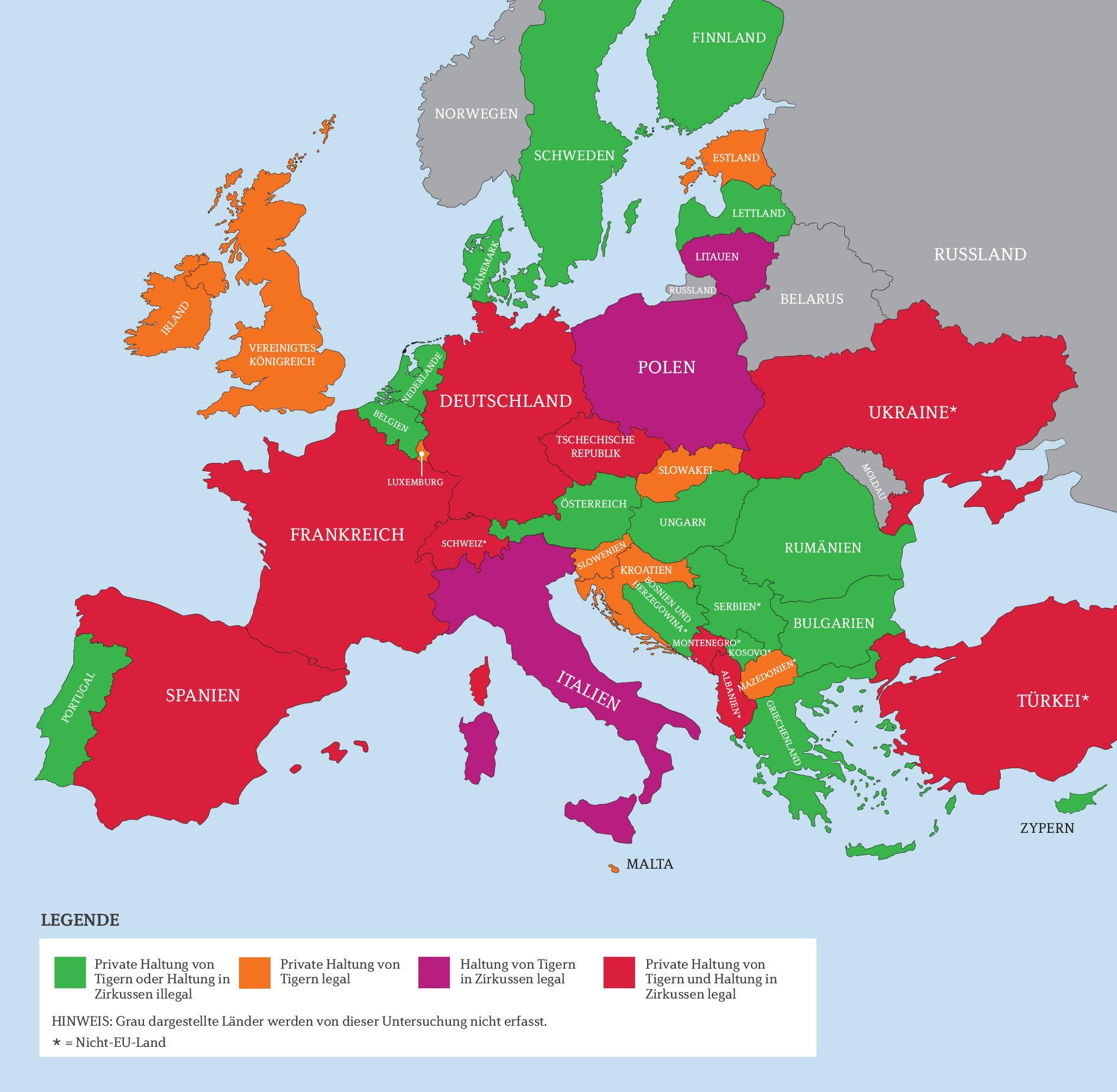 Tigerhandel - Europakarte