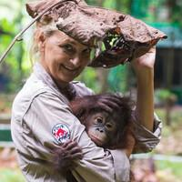 Signe and orphan orangutan