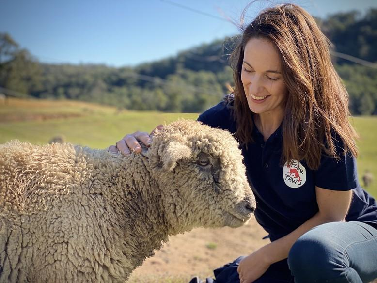 Jessica Medcalf with a sheep