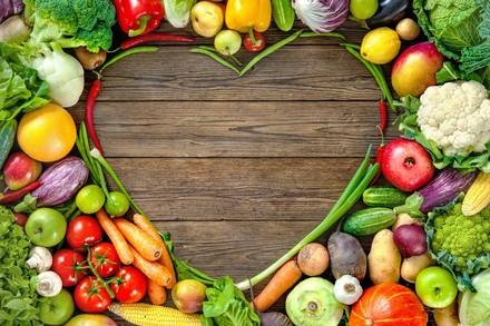 Assortment of fresh fruits and vegetables in heart shape on wooden background. Fotolia stock photo, #118175255, Size XXL | Copyright Notice: © Fotolia | Alexander Raths | © Status: FP owns standard licence, no rights to give to externals