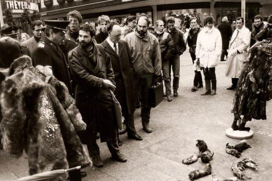 Heli Dungler, FOUR PAWS founder, in a public demonstration against the cruelty of fur.