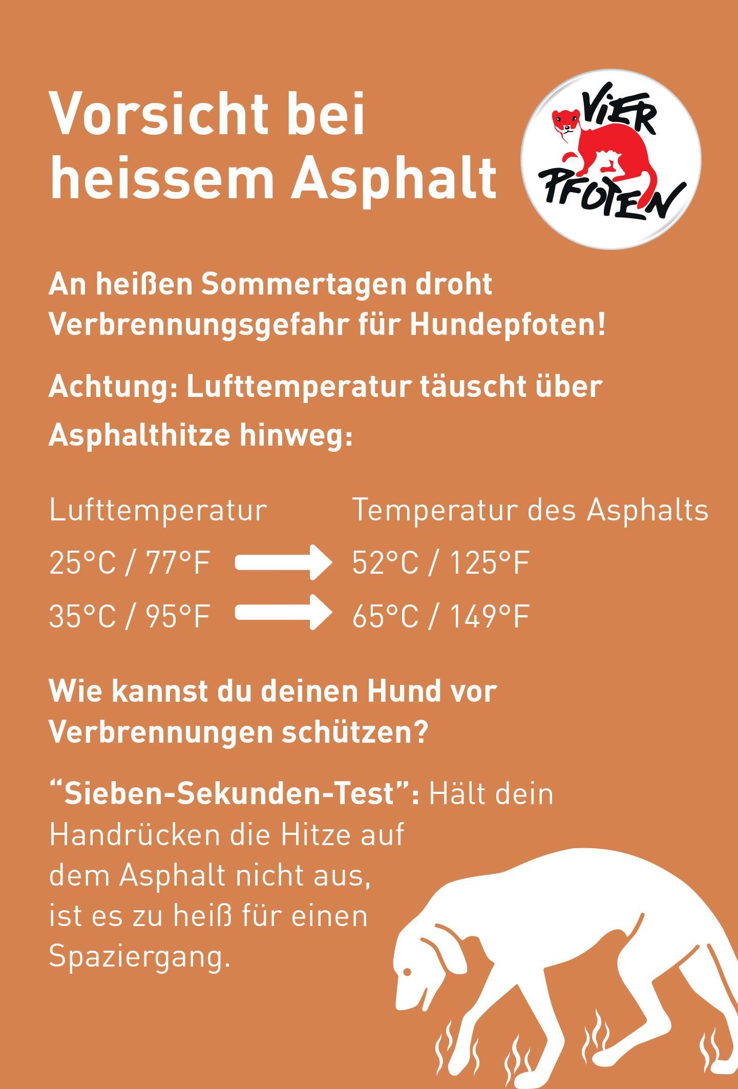 Vorsicht bei heissem Asphalt