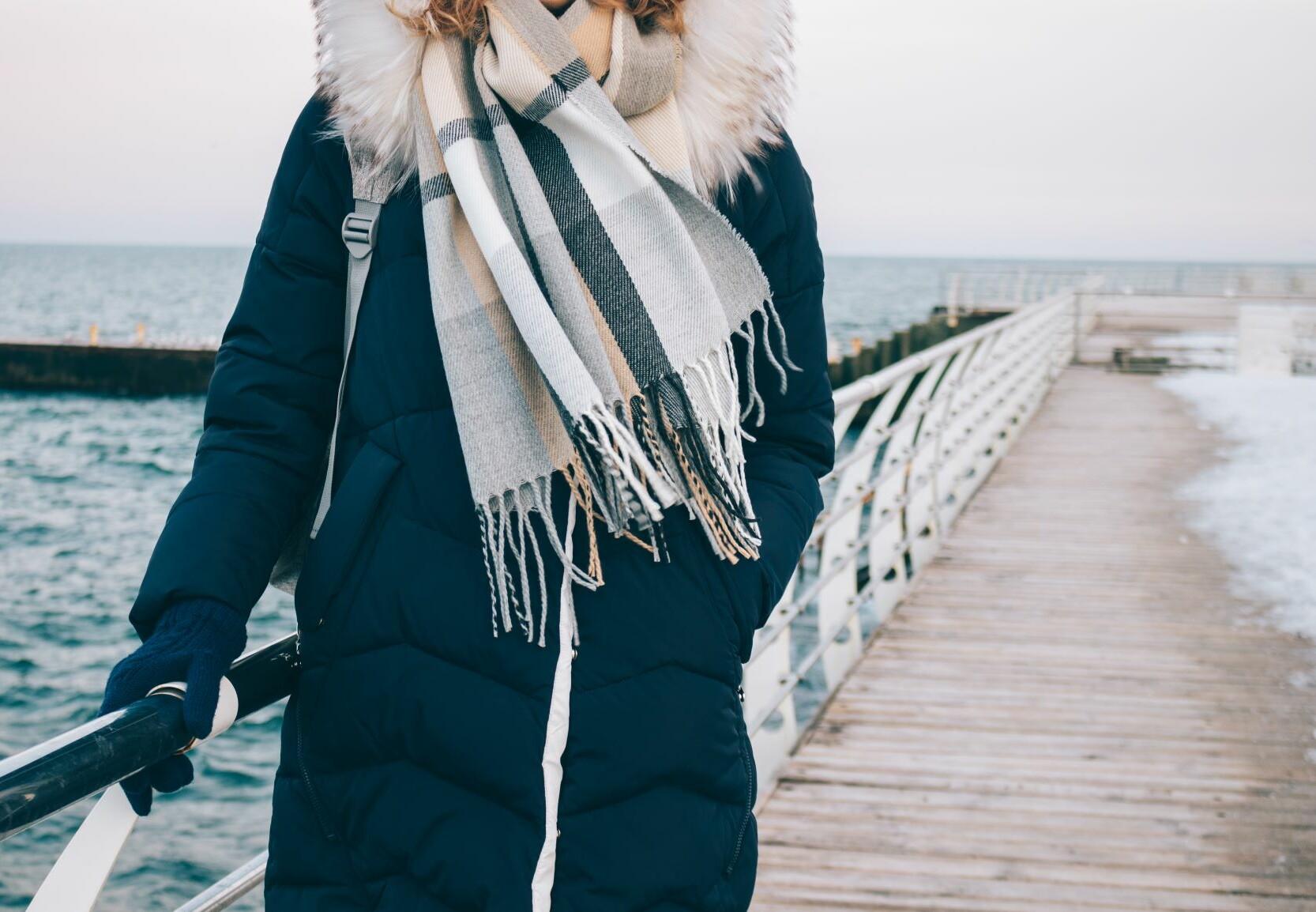 Woman wearing fur trim coat