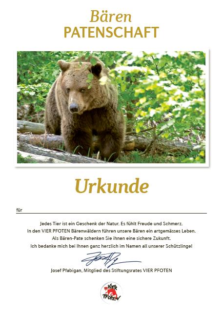 Urkunde für Bären-Patenschaft