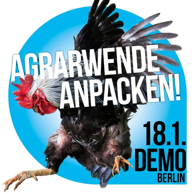 """Demoaufruf zur Kundgebung """"Wir haben es satt"""" am 18. januar 2020 in Berlin. Ein Hahn"""