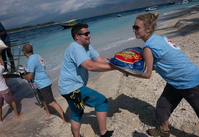 Food and supplies were delivered to the island