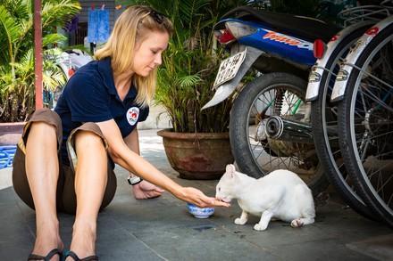 VIER PFOTEN Mitarbeiterin füttert Streunerkatze