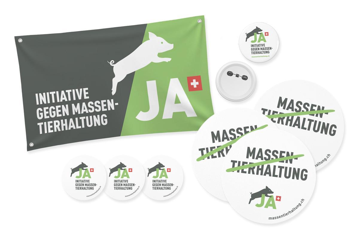 Kampagnenmaterial Massentierhaltungsinitiative