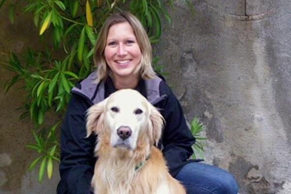 Mrs. Glatzenberg with dog Amigo