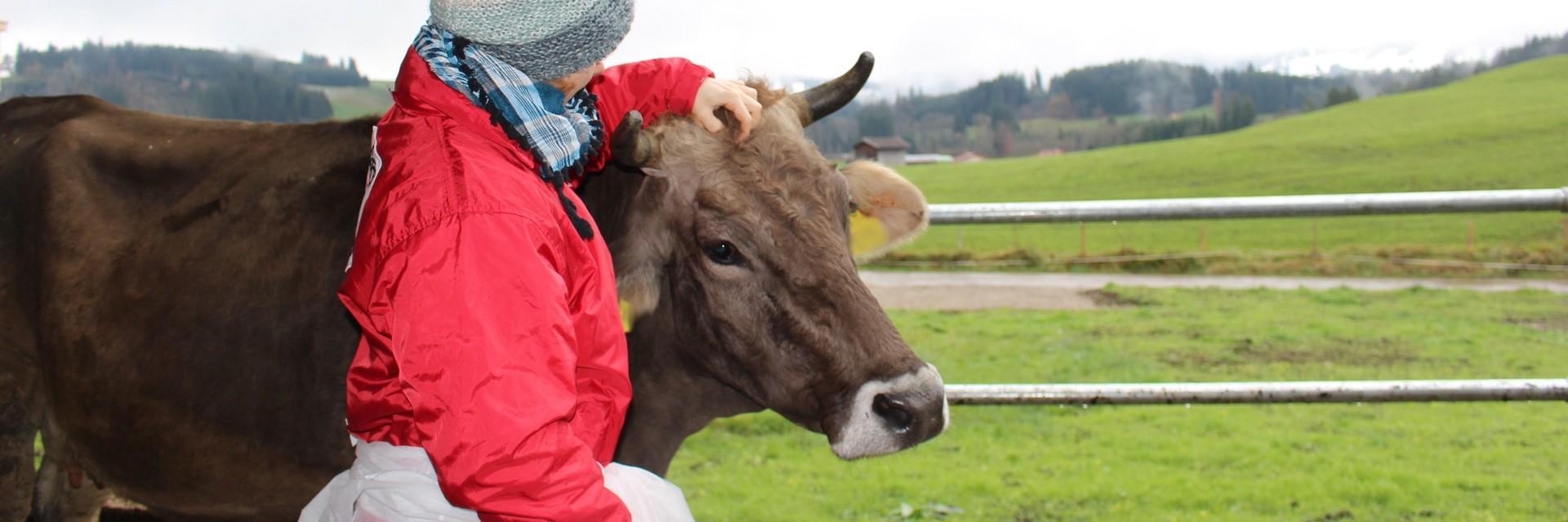 Mitarbeiterin von VIER PFOTEN kümmert sich liebevoll um eine Kuh