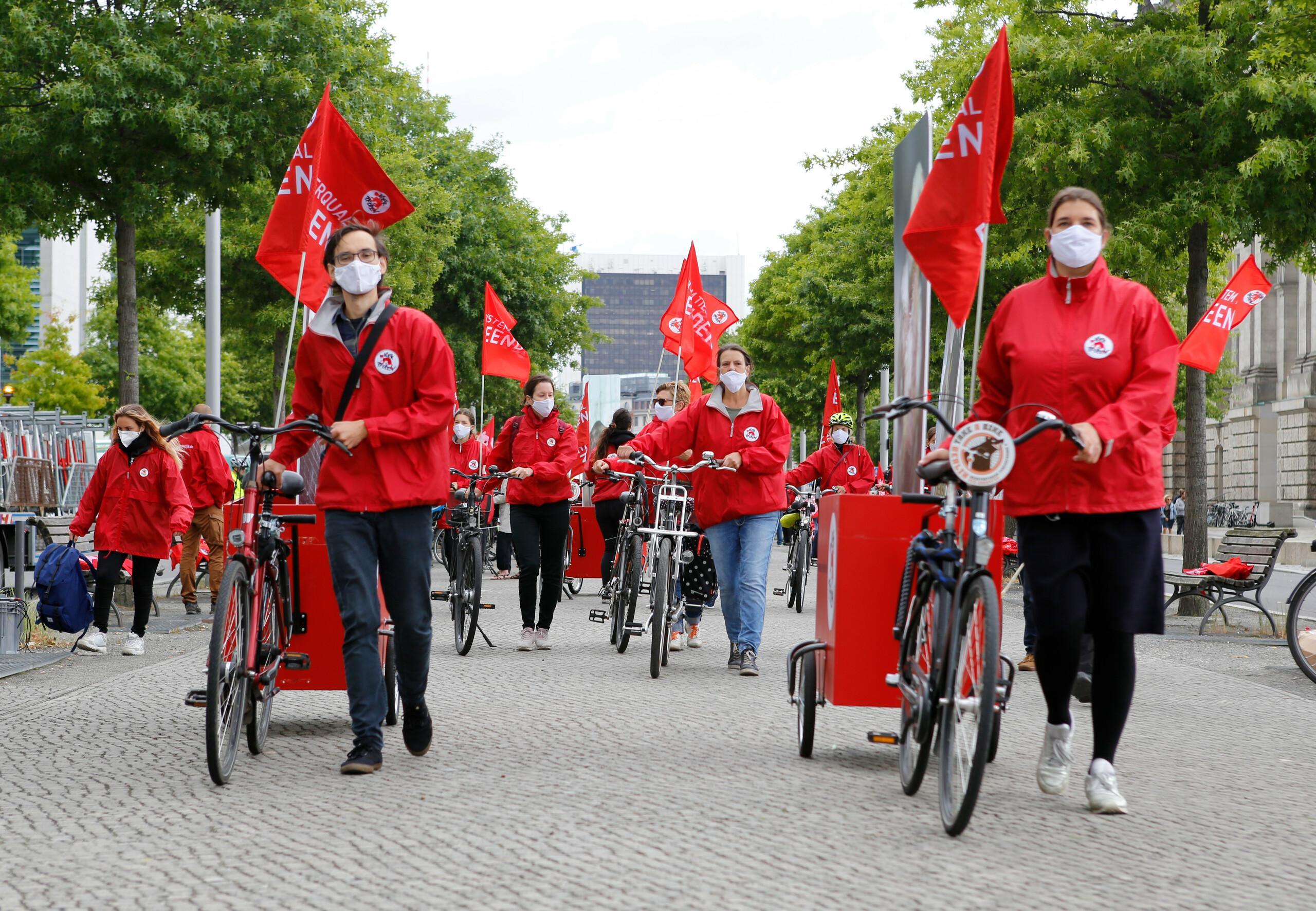 Fahrraddemo zur AM am 27. August 2020 in Berlin