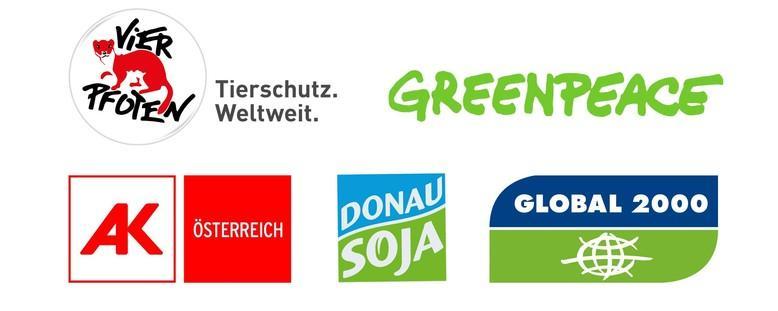 Logos-VIER PFOTEN, Greenpeace, Global 2000, Donau Soja, AK Österreich