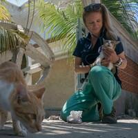 Dr. Katherine Polak avec un chat