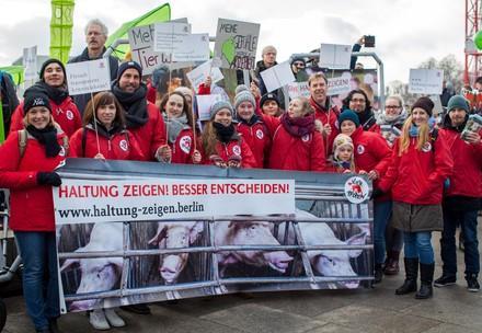 """Teilnehmer von VIER PFOTEN bei der """"Wir haben es satt"""" Demo 2018 in Berlin"""