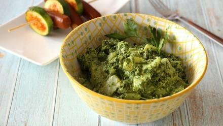 Potato salad with parsley pesto and sausages