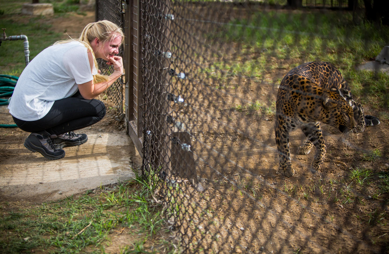 Erin and leopard Bakari in LIONSROCK Big Cat Sanctuary