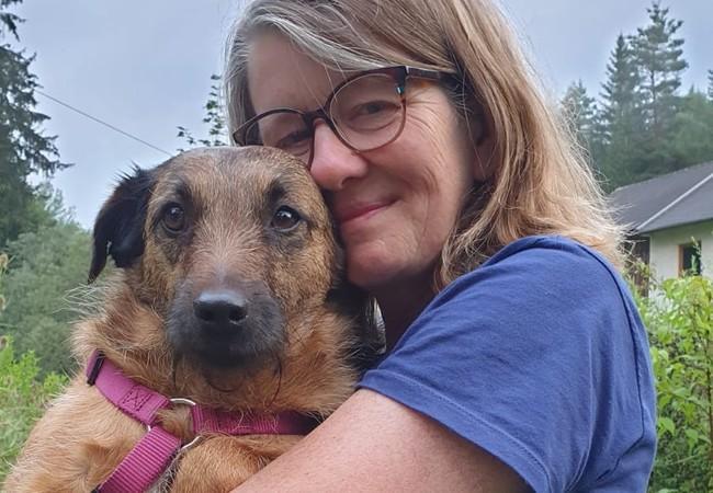 Gerlinde with her dog Keksi