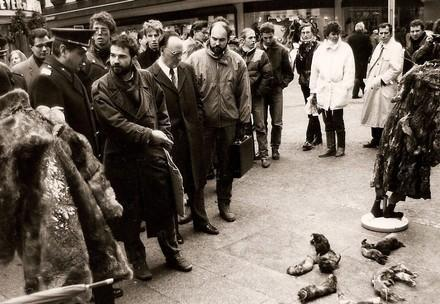 Heli Dungler in the early days, during an anti-fur protest