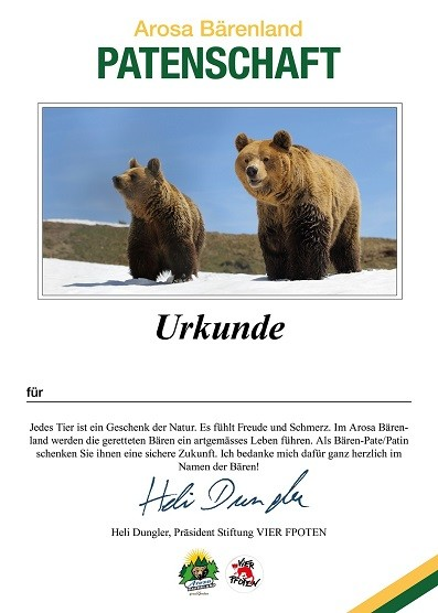 Urkunde Arosa Bärenland Patenschaft