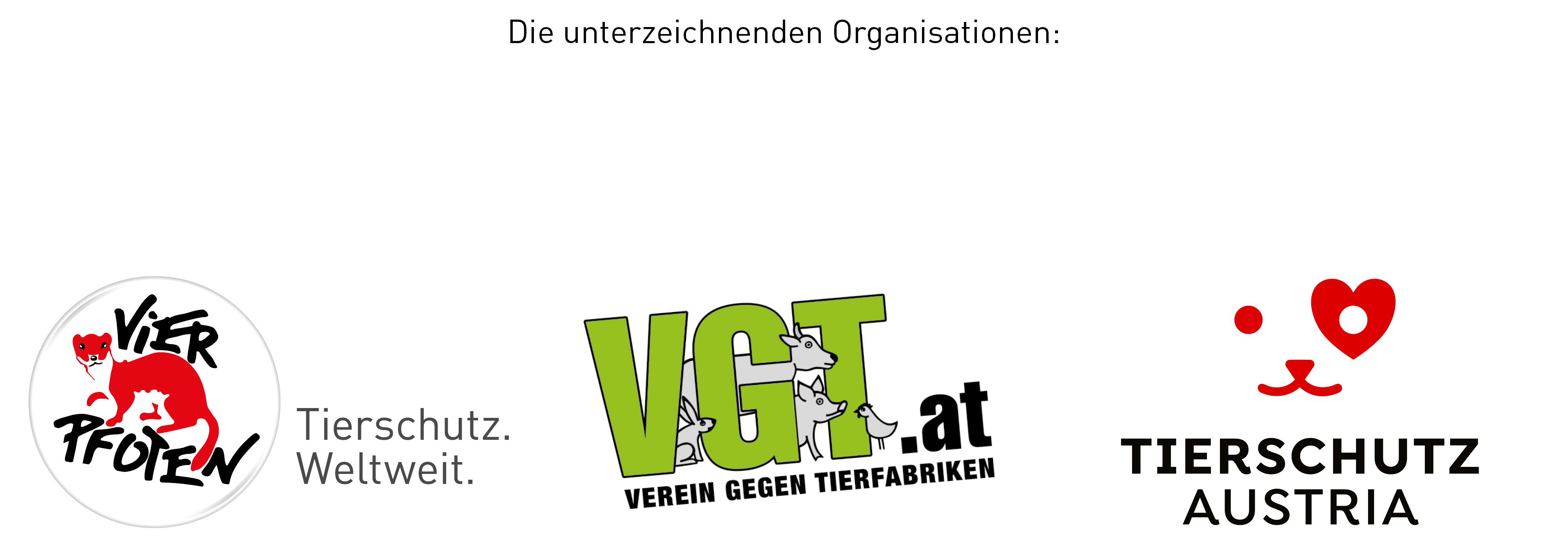 VIER PFOTEN, VGT und Tierschutz Austria Logos 2021