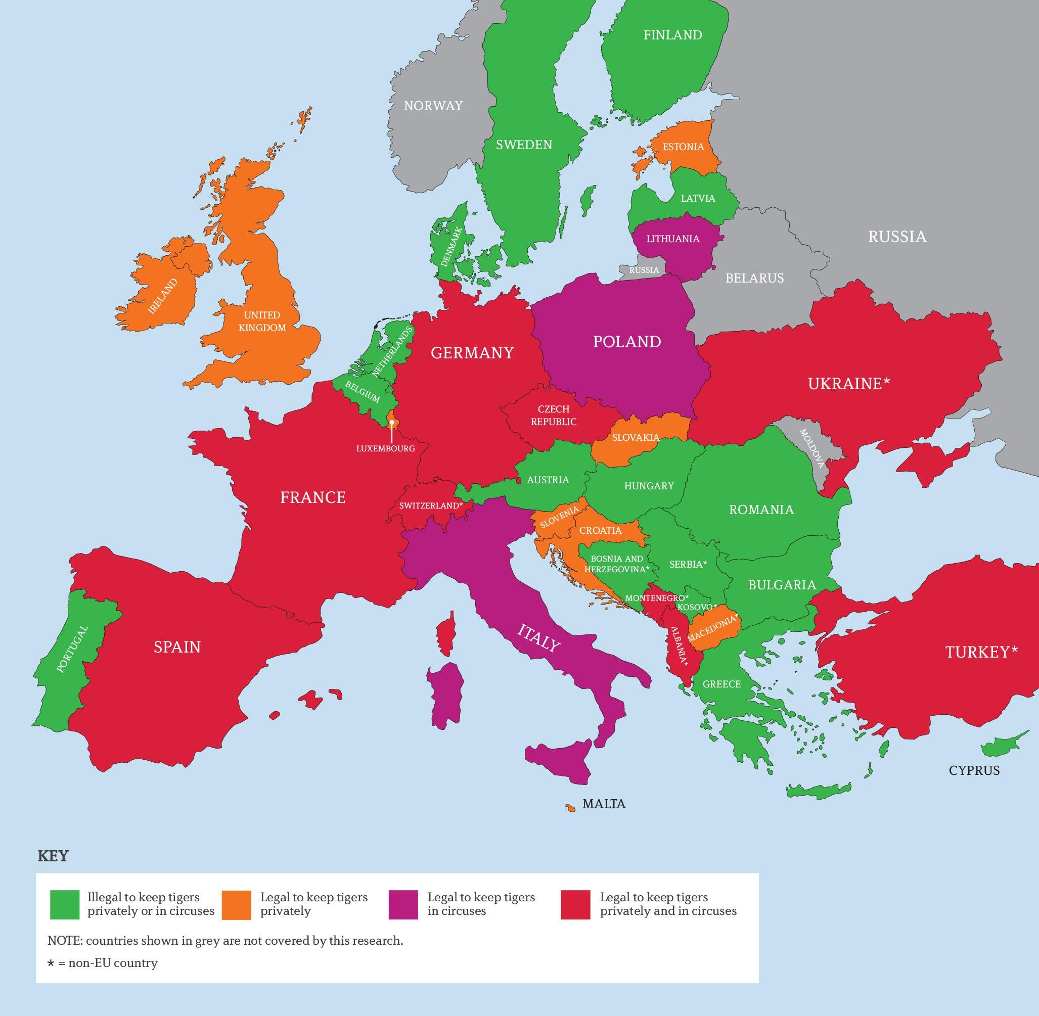 Europe Map Tiger Trade